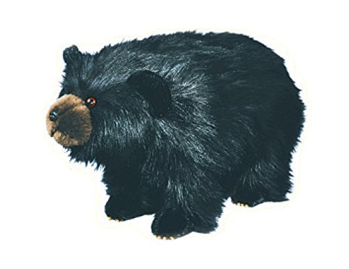 Black Bear Footstool (Carstens Shadow Shaggy Black Bear Footstool)