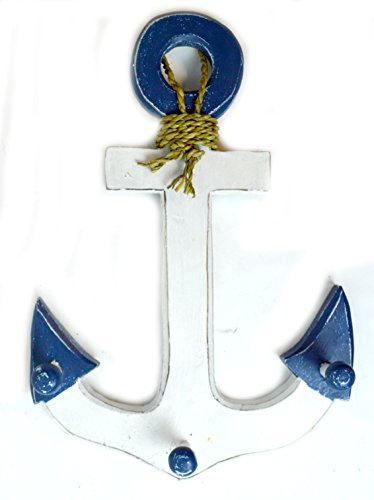 16-Blue-and-White-Hand-Carved-Wood-Ship-Anchor-with-Hooks-Nautical-Wall-Decor-Towel-Hanger