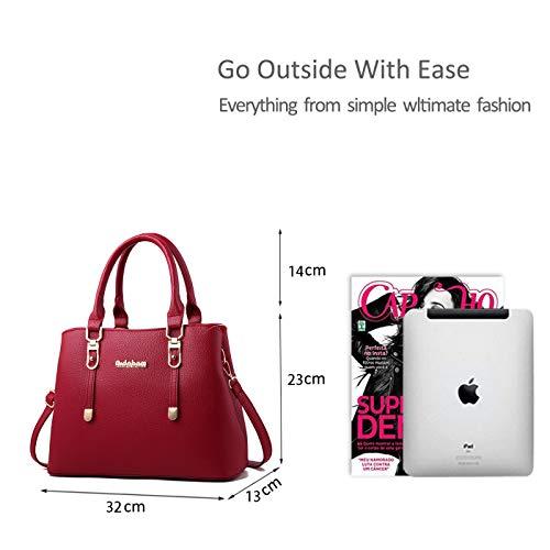 Rojo Femenina Bag Ruiren Portátil De Shoulder Bolsa Messenger Compras qxaa8BpwH