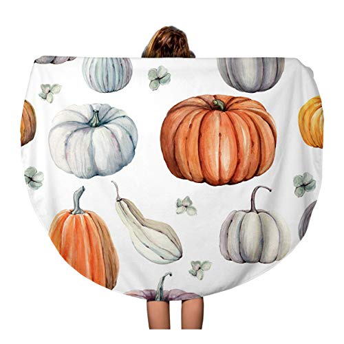 (Semtomn 60 Inches Round Beach Towel Blanket Autumn Watercolor Pumpkins It is Thanksgiving Halloween Recipe Food Travel Circle Circular Towels Mat Tapestry Beach)