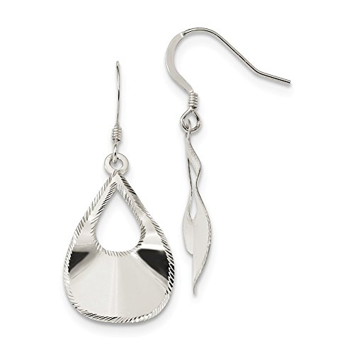 Top 10 Jewelry Gift Sterling Silver Polished Laser Cut Teardrop Dangle Hook Earrings ()