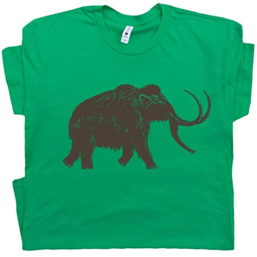 L - Big Wooly Mammoth T Shirt Woolly Elephant Shirts Dinosaur Animal Buffalo Men Women Kid Graphic Tee Green (Animal Independent T-shirts)