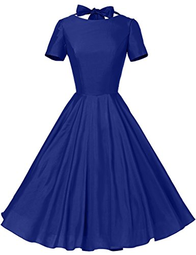 GownTown Womens 1950s Vintage Retro Party Swing Rockabillty Stretchy Dress - Medium - Royal (50's Fashion For Women)
