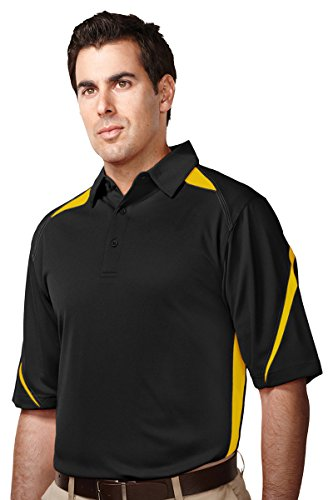 (Tri-Mountain men's Performance Polyester Birdseye Mesh Polo Shirt Black/Gold Large )