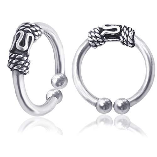 OwMell S925 Sterling Silver Oxidized Twist Non Pierced Ear Cuff Wrap Clip on Earrings no Piercing Cartilage Earrings for Men & Women