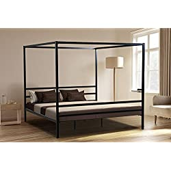 Oliver Smith - Modern Heavy Duty Black Iron Metal Platform Canopy Bed with Slats/No Box Spring Needed/Wooden Slat Supports - 5 Year Warranty Included - 00016-72 High Queen