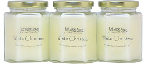 3 PACK - White Christmas (Compare to Yankee Candle) Scented Blended Soy Candle by Just Makes ()