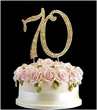 Rhinestone Crystal Birthday Cake Topper Number Pick 70th Diamante Gems Decoration
