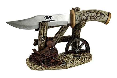 "10 1/2"" Decorative Horse Handle / Blade Knife with Western Display Stand"