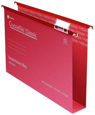 Rexel Crystalfile Classic Suspension File Manilla 50mm Foolscap Red Ref 71752 [Pack of 50]