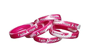 Faith Hope Survive Breast Cancer Awareness Wristbands Pink Camo Silicone Bracelets 25 Wrist Bands