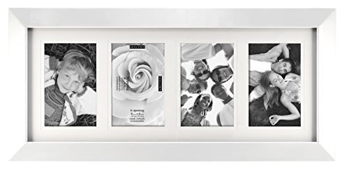 Malden International Designs Berkeley Beveled Edge Wood Collage Picture Frame, 4 Option, 4-4x6, White