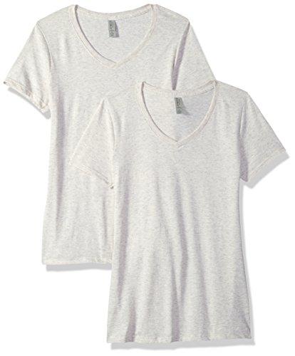 Jerzees Women's Tri-Blend V-Neck T-Shirt(2-Pack), Oatmeal Fleck, Medium