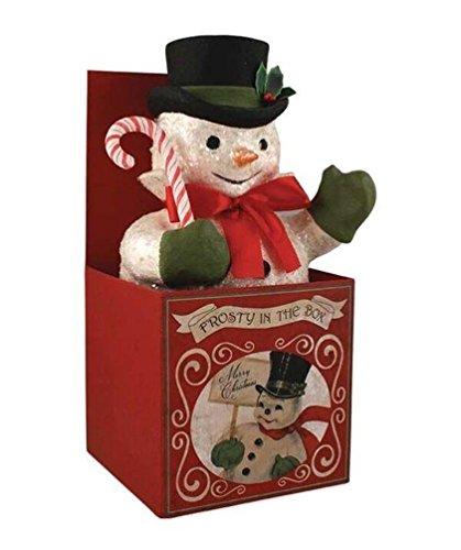 Frosty Snowman Figure - Bethany Lowe Retro Christmas Frosty In The Box Snowman Figure Tabletop Decor