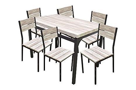 Set tavolo 6 sedie da giardino esterno terrazzo tavolo
