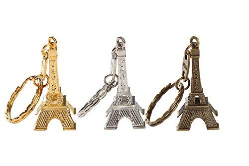 12pcs/lot 3d Eiffel Tower French Souvenir Paris Keychain Cute Adornment Keyring 3 Colors Bronze Silver ()