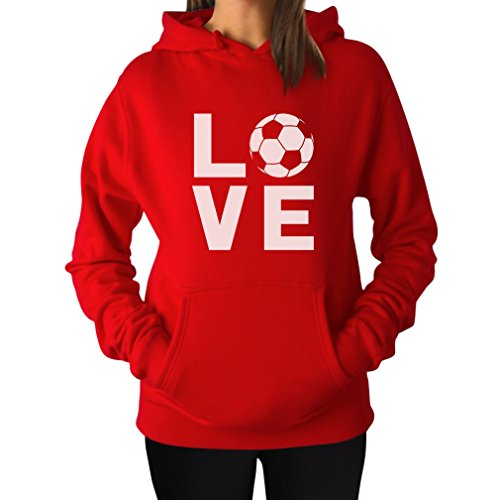 Tstars TeeStars - I Love Soccer - Perfect Gift For Soccer Players/Fans Women Hoodie Small Red
