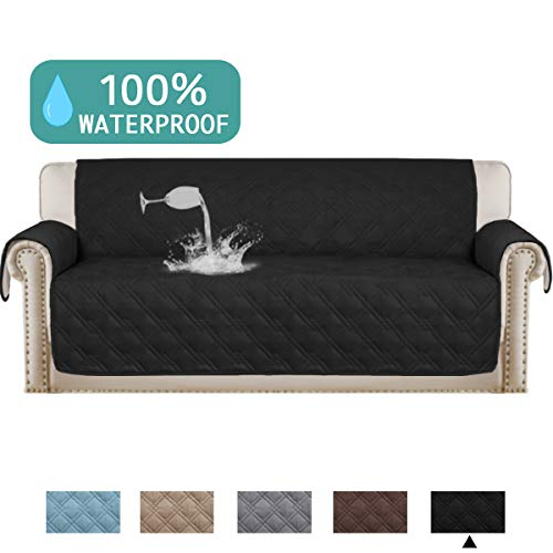 Turquoize Microfiber Sofa Cover 3 Seat Couch Protector Water Resistant Quilted Furniture Covers with PVC Backing Non-Skid Stay in Place Furniture Slipcover(Sofa Oversize,86