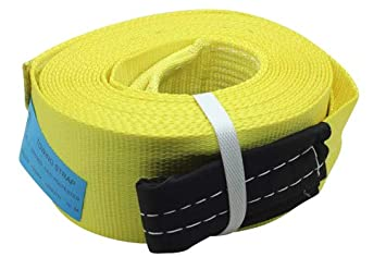 39.37ft 12m DiversityWrap 13.5T Tow Strap Heavy Duty Tow Rope Towing Pull Strap Recovery Winch 4x4 Offroad With 2x Shackles Yellow