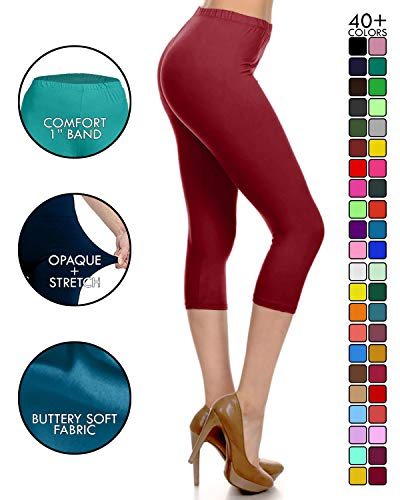 Leggings Depot Capri Basic Solid Leggings Burgundy