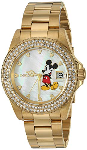 Invicta Women's Disney Limited Edition Quartz Watch with Stainless-Steel Strap, Gold, 20 (Model: 26239)