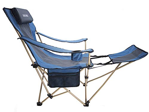 (KHORE Camping Folding Portable Recliner Chair with Adjustable and Removabel Footrest (Blue))
