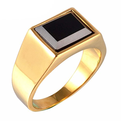 Z&X Jewelry Men's Retro Rings Stainless Steel Black Onyx Signet Ring Gold Size 10 -