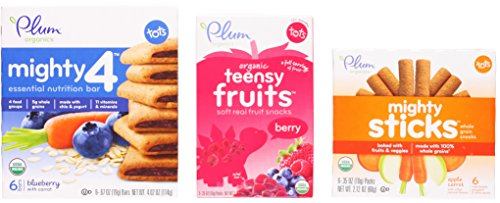 Plum Organics Toddler Snack Variety Bundle: (1) Mighty 4 Blueberry with Carrot Essential Nutrition Bars 4.02oz, (1) Berry Teensy Fruits 1.75oz, and (1) Apple Carrot Mighty Sticks 2.12oz (3 Pack Total)