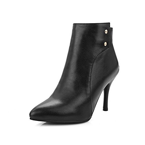 Allhqfashion Women's Pointed Closed Toe High-Heels Soft Material Ankle-high Solid Boots Black