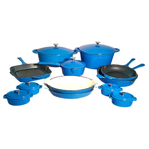 Le Chef 19-Piece All Enamel Cast Iron France Blue Cookware Set.