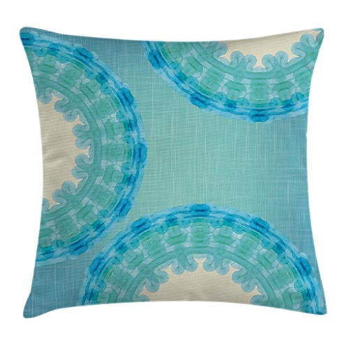 Ambesonne Aqua Throw Pillow Cushion Cover by, Tie Dye Mandala Ombre Image with Circles Rounds Ethnic, Decorative Square Accent Pillow Case, 24 X 24 Inches, Turquoise Pale Blue Navy Blue and Seafoam
