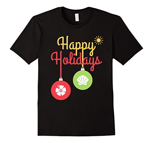 In Costumes Christmas July (Mens Holiday Summer Christmas in July Mom Shirt Hibiscus Ornament XL)