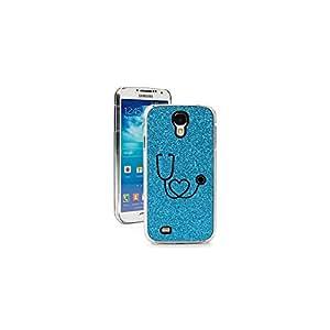 Light Blue Samsung Galaxy S4 SIV Glitter Bling Hard Case Cover GK121 Heart Stethoscope