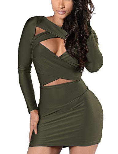 VOGRACE Women's Long Sleeve Cut Out Bandage Bodycon Party Clubwear Mini Dress M Green