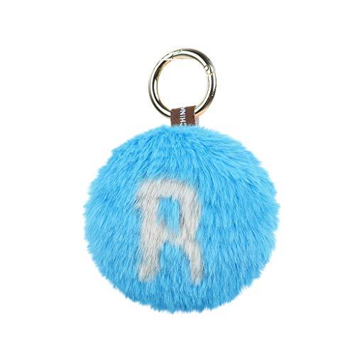 Fan-Ling 1pcs Letter Keychain,Key Ring, Key Chains,Cell Phone Chain,Pompoms Pendant Holder,Bag Pendant Car Accessory,Artificial Rabbit Fur Craft,Cute Decor Ornaments,10 X 10CM (R) (Aquarium Decor Zombie)
