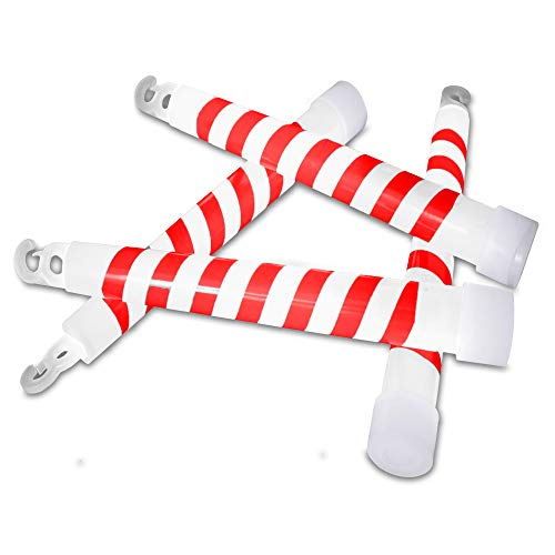 24 Pack Christmas Candy Cane Glow Stick Necklaces - 6 inch Glow in The Dark Xmas Toys