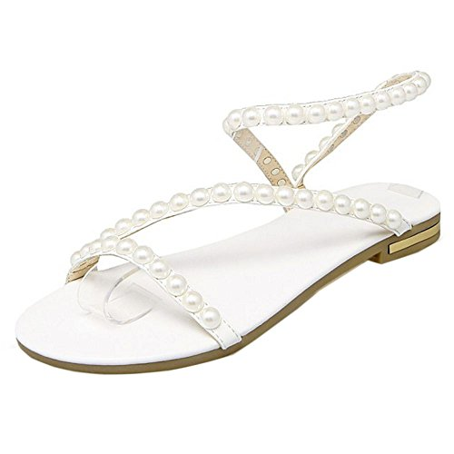 Wedding Shoes Flat Women Sandals Sling KemeKiss White Beads Summer a4gq0Ow