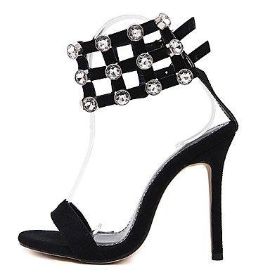 LvYuan Mujer Sandalias Vellón Verano Pedrería Tacón Stiletto Negro 10 - 12 cms Black