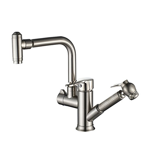 Tianch Pull-Type hot and Cold Water Faucet Kitchen Sink Copper Retractable 360 Degree Rotating Sink Faucet