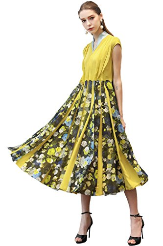 Silk Spandex Georgette Dress (VOA Women's Silk Floral Print Georgette Patchwork V-Neck Midi Dress With Cap Sleeves A333)