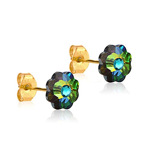 24K Gold Coated Stud Earrings hypoallergenic for sensitive ears 14karat gold coated gifts by clecceli (Multicolored/Teal)