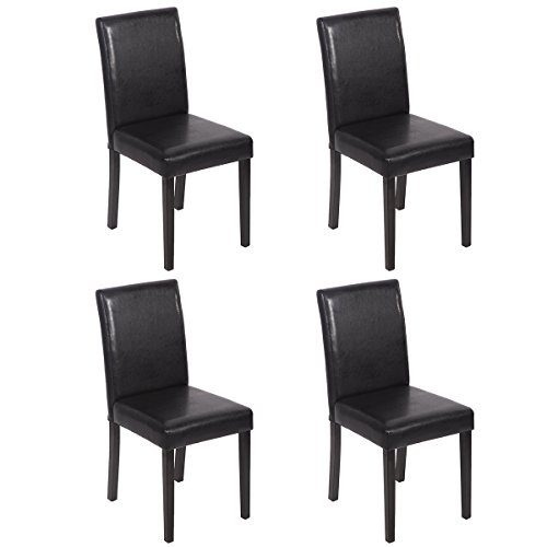 Mr Direct Urban Style Solid Wood Leatherette Padded Parson Dining Chairs Set Of 2 (4, Black) (Black And Wood Dining Set)