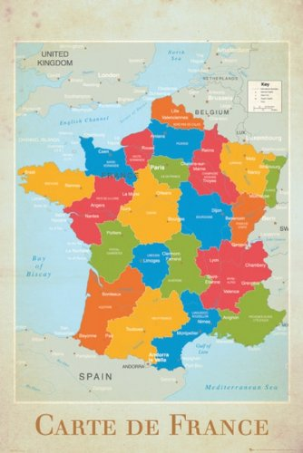 Map Of France And Bordering Countries.Amazon Com Map Of France Poster France And Bordering Countries