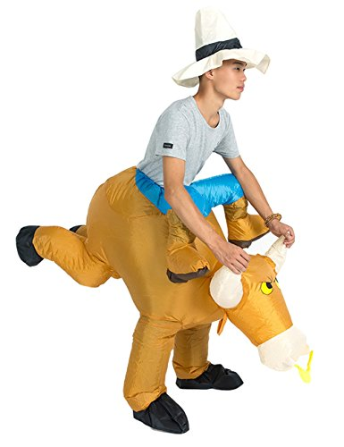 Gameyly Inflatable Adult Animal Rider Halloween Costumes Fancy Dress Party Outfit Bull (Bull Rider Costume)