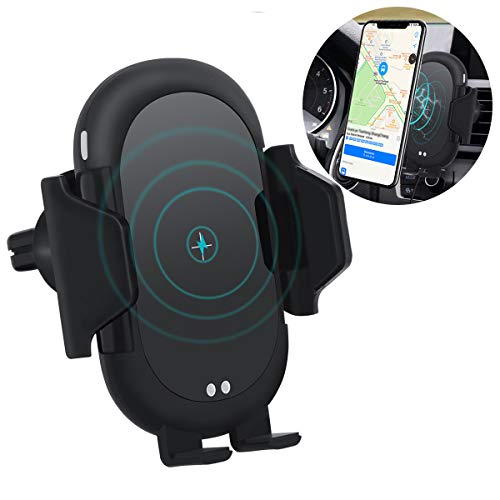 Wireless Car Charger, Automatic Clamping Infrared Sensor, 10W/7.5W/5W Fast Charging Phone Holder Air Vent Car Mount, Compatible iPhone X 8 Xr Xs Max Galaxy S10/S9/S8/S6 Plus Note 6/9/8 and More
