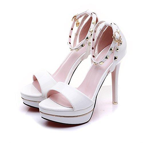 alta tacon moda remache sandalias XiaoGao simple de Blanco de 11 de centimetros A7x4SqT