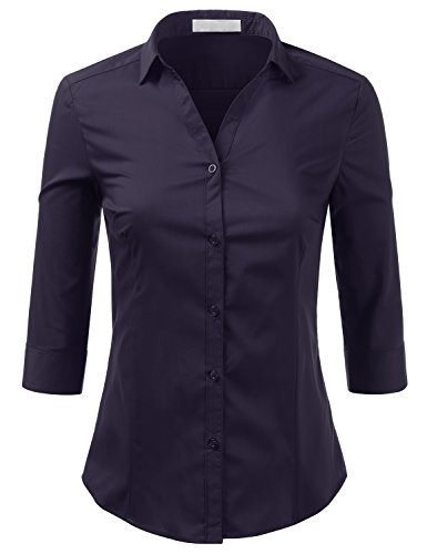 - Foryous Basic 3/4 Sleeve Cotton Classic Front Shirts Button Down for Women with Plus Size