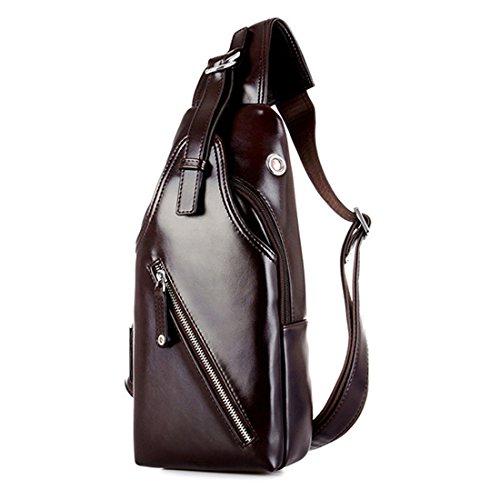 TUOKE Men's Waterproof Leather Sling Bags Chest Shoulder Bag Crossbody Satchel Backpack Brown