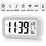 Bulfyss Plastic Digital Smart Backlight Alarm Clock with Automatic Sensor, Date and Temperature (White)