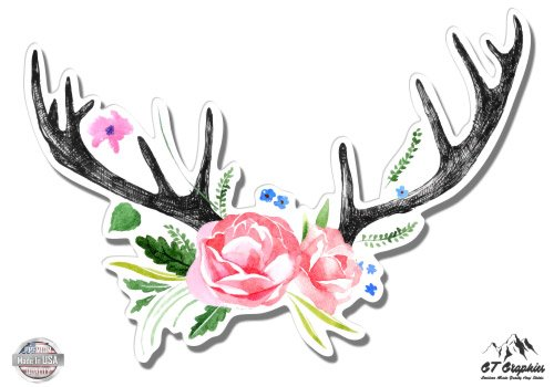 Deer Antlers with Flowers Boho Cute - 5